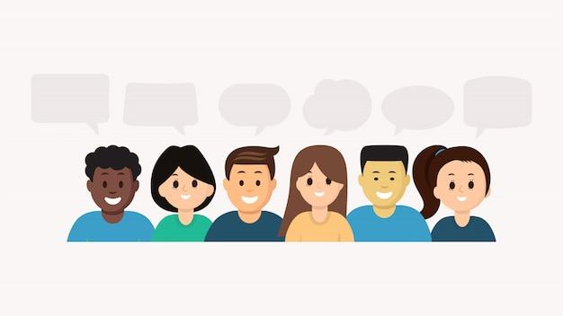 Pessoas multiétnicas a sorrir com bolhas do discurso