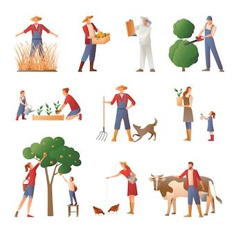 Pessoas na agricultura conjunto de ícones plana