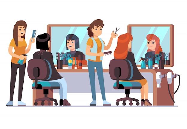 Pessoas na barbearia. cabeleireiro, fazendo o corte de cabelo da moda feminina para clientes de mulheres. conceito de salão de cabeleireiro interno