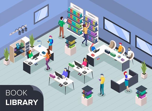 Pessoas na biblioteca de livros modernos