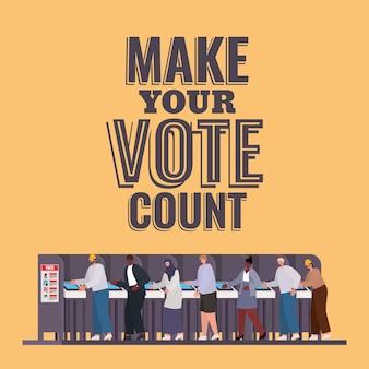 Pessoas na cabine de votação com design de texto de contagem de votos, tema do dia das eleições.