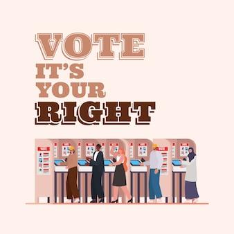 Pessoas na cabine de votação com voto é o seu design de texto certo, tema do dia das eleições.