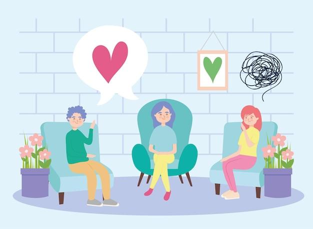 Pessoas na cadeira com coração e depressão da terapia virtual