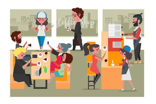 Pessoas na cafeteria, estilo plano de desenhos animados estilo plano