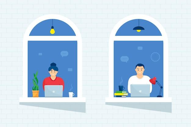 Pessoas na casa do windows olham para fora do quarto ou apartamento, trabalham em um laptop, pessoas de conceito sentam-se em casa, trabalhando, estudando e descansando. isolamento em casa. confinamento.