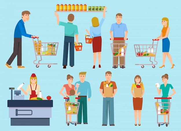 Pessoas na coleção de supermercado
