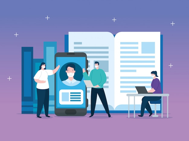 Pessoas na educação on-line com design ilustração smartphone