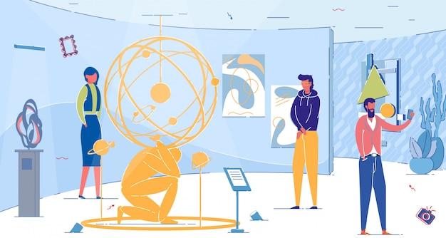 Pessoas na exposição com labirintos e instalações móveis