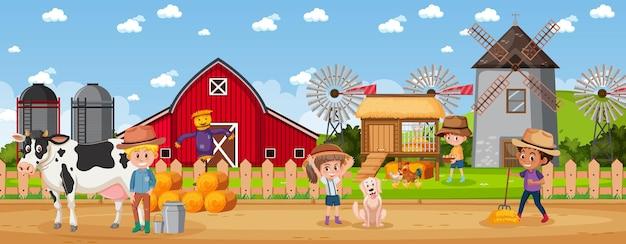 Pessoas na fazenda rural