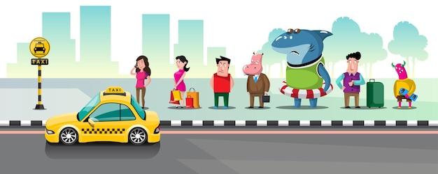 Pessoas na fila de táxis em um ponto de táxi na cidade