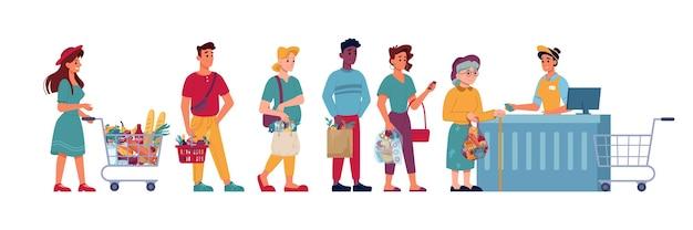 Pessoas na fila do supermercado fazem fila no supermercado