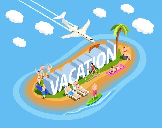 Pessoas na ilha durante a composição isométrica de férias de praia em azul com avião no céu