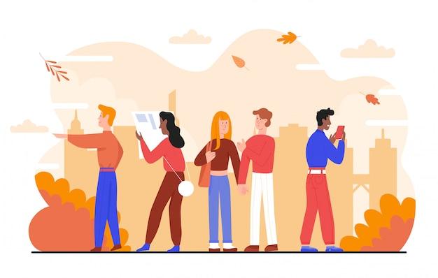 Pessoas na ilustração da cidade de outono. personagens de desenhos animados felizes homem mulher caminhando, casal romântico em pé na paisagem urbana outonal com folhas de árvore caindo, outono aconchegante em branco