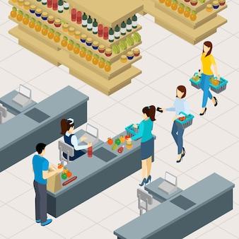 Pessoas na ilustração de linha de compras