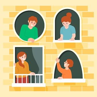 Pessoas na ilustração de varandas