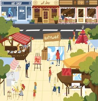 Pessoas na ilustração do mercado de arte.