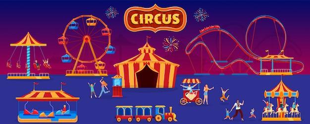Pessoas na ilustração do parque de diversões, personagens de desenhos animados família plana andando no parque com tenda de circo, andar de montanha russa, carrossel