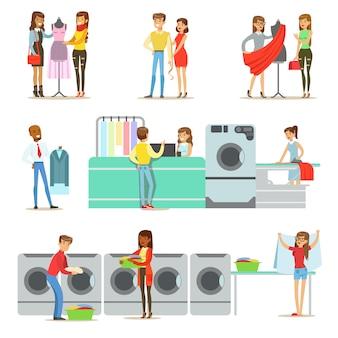 Pessoas na lavanderia, serviço de lavagem a seco e alfaiataria conjunto de personagens de desenhos animados a sorrir