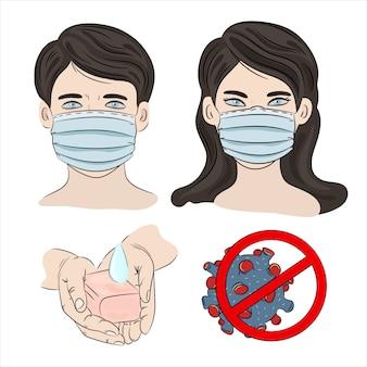 Pessoas na máscara. epidemia humana de coronavírus