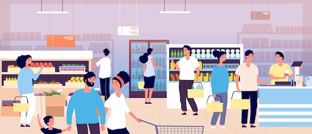 Pessoas na mercearia. clientes comprando comida no supermercado.