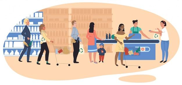 Pessoas na mercearia, linha na mesa de caixa, clientes de supermercado, ilustração