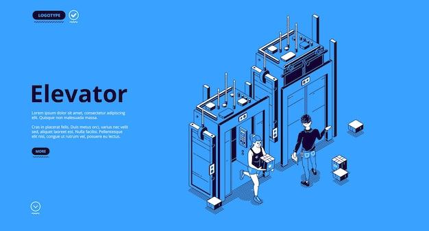 Pessoas na página de destino isométrica do elevador