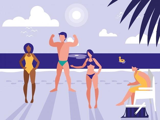 Pessoas na paisagem tropical praia
