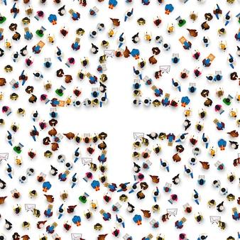 Pessoas na pilha na forma de um símbolo de adição. ilustração vetorial