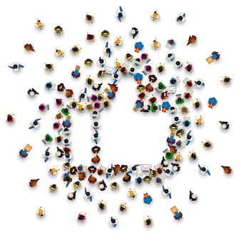 Pessoas na pilha na forma de um símbolo para gostar. ilustração vetorial