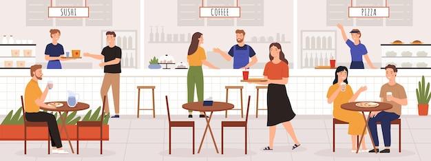 Pessoas na praça de alimentação. homens e mulheres adultos almoçam no café ou restaurante interior com mesa. conceito de vetor de lugar de sushi, café e pizza. ilustração de sushi e pizza, em praça de alimentação