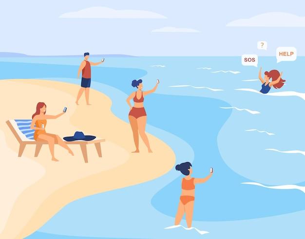 Pessoas na praia atirando em uma mulher afogada