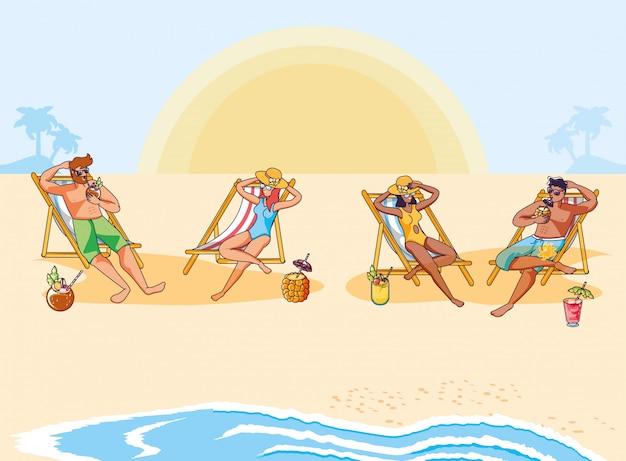 Pessoas na praia com cena de verão cocktails