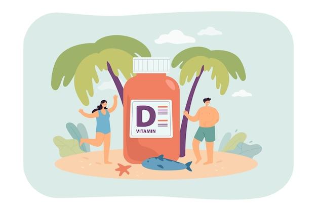Pessoas na praia com um grande suplemento de vitamina d Vetor grátis