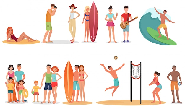 Pessoas na praia de férias de verão