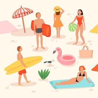 Pessoas na praia fazendo várias atividades