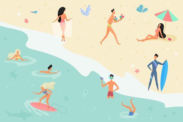 Pessoas na praia tomando sol, conversando, surfando e nadando na vista do mar ou do oceano