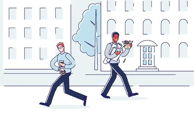 Pessoas na rua, comendo fast-food, correndo para o escritório.