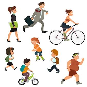 Pessoas na rua em movimento. Vetor Premium