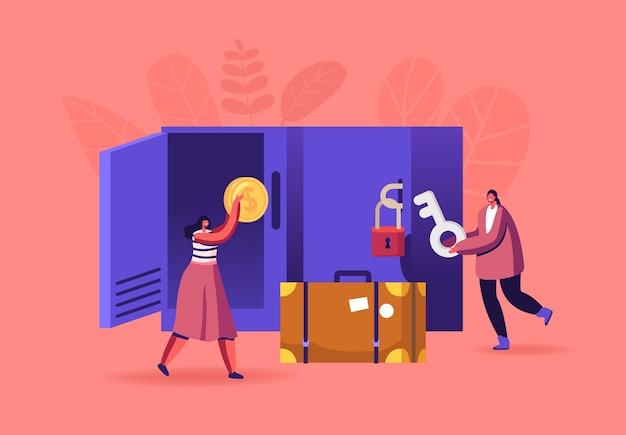 Pessoas na sala de bagagens Vetor Premium