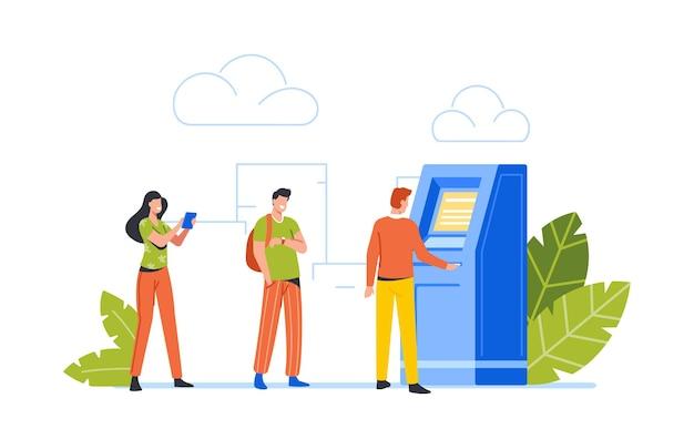 Pessoas na transação de transação de caixa eletrônico, serviços bancários de caixa eletrônico. personagens de clientes masculinos e femininos na fila