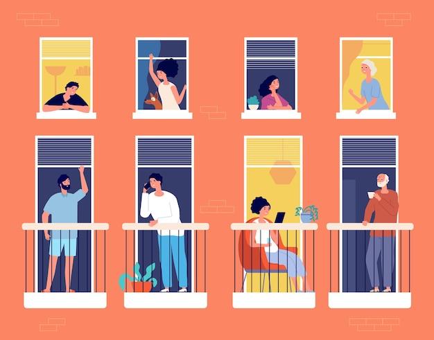 Pessoas na varanda. prédio de apartamentos moderno, vida de bairro. vizinhos procurando, comunicação, leitura e bebem o conceito de vetor de café. pessoas na varanda, isolamento de pessoas lendo ilustração de livro