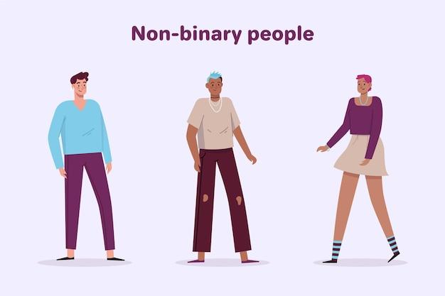 Pessoas não binárias de ilustração plana orgânica