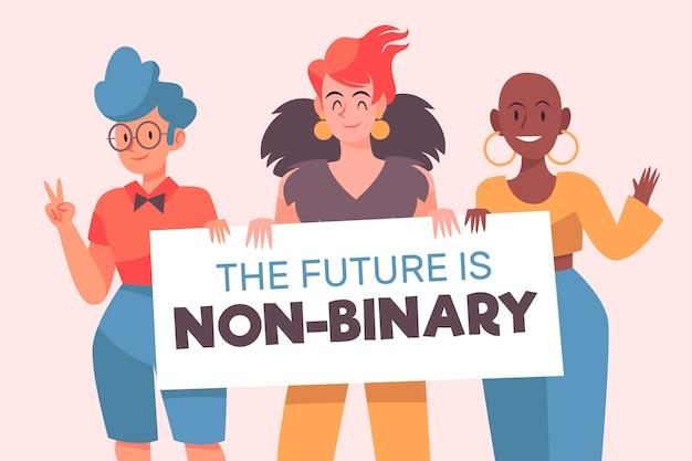 Pessoas não binárias ilustradas