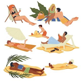 Pessoas nas férias de verão, passando o tempo na praia ou na costa. homens e mulheres tomando banho de sol e relaxando na praia, tomando banho de sol e se bronzeando, bebendo coquetéis e conversando. vetor em estilo simples