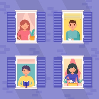 Pessoas nas janelas em casa
