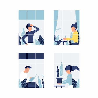 Pessoas nas janelas que ficam em casa devido à quarentena. trabalhe em casa conceito.