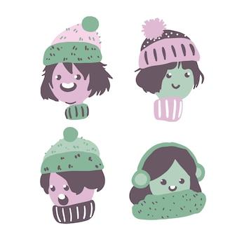 Pessoas natal, desgastar, roupas inverno, perfil