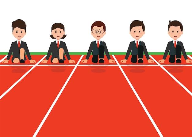 Pessoas negócio, alinhou, obtendo pronto, para, raça, em, negócio