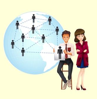Pessoas negócio, com, mapa, de, mundo