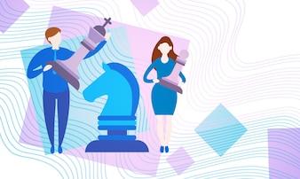 Pessoas negócio, com, xadrez